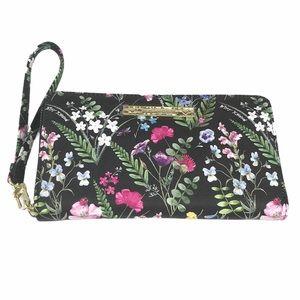 Betsey Johnson Floral Z/A Wallet, Black, Pink